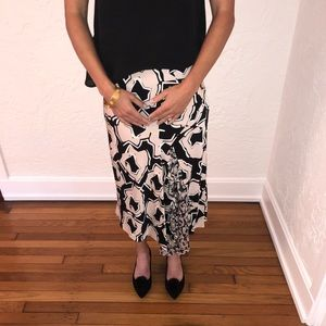 DVF Silk Blush and Black Printed Skirt NWOT